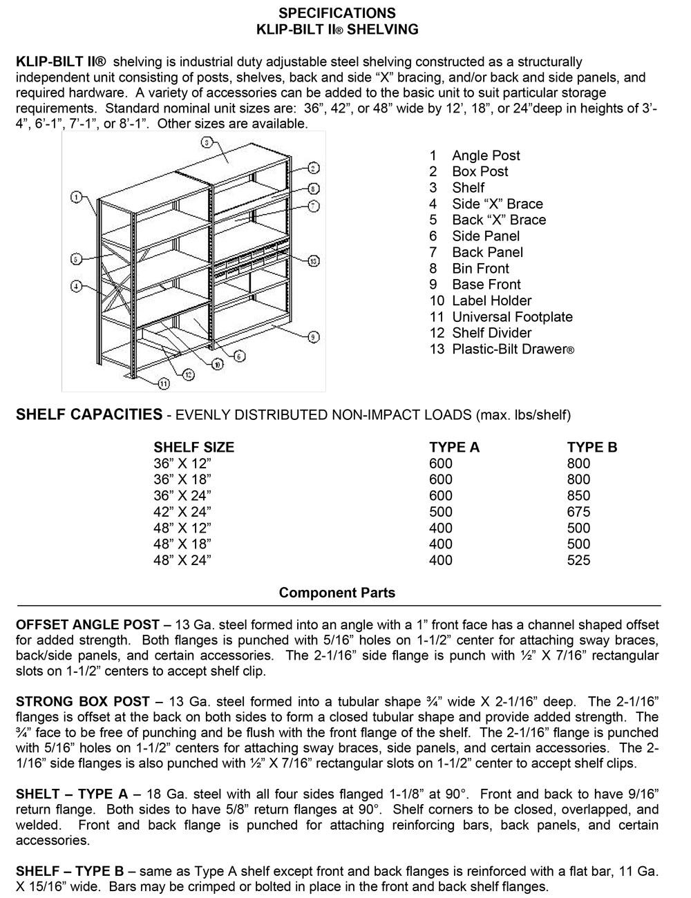 Klip Bilt Parts List