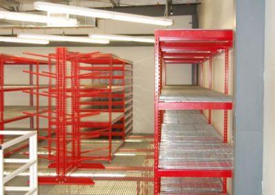 red shelving upper mezzanine