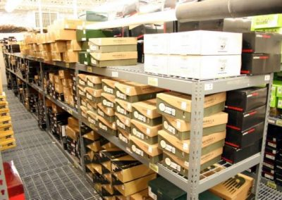 shelving with shoe products