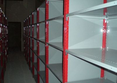 red and grey shelving