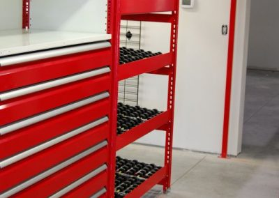 red shelving with rollers