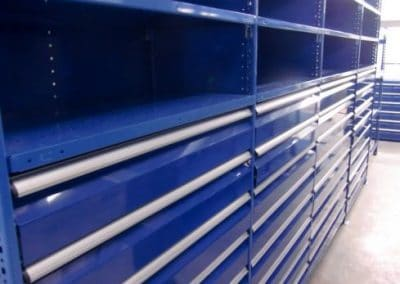 blue shelving with drawers