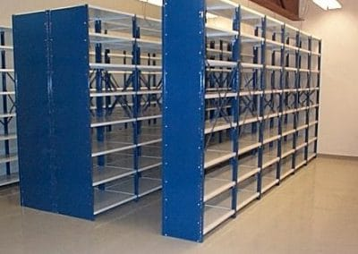 blue and white shelving
