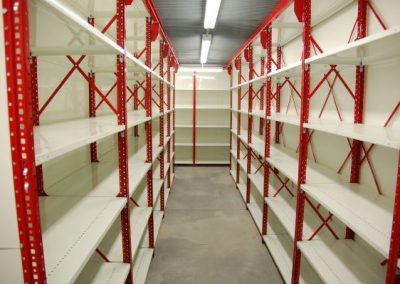 red and white shelving
