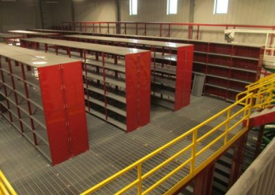overlook to red shelving