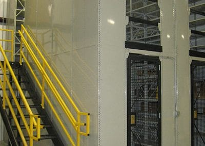 shelving with gated door