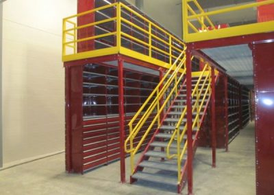 red shelving with stair