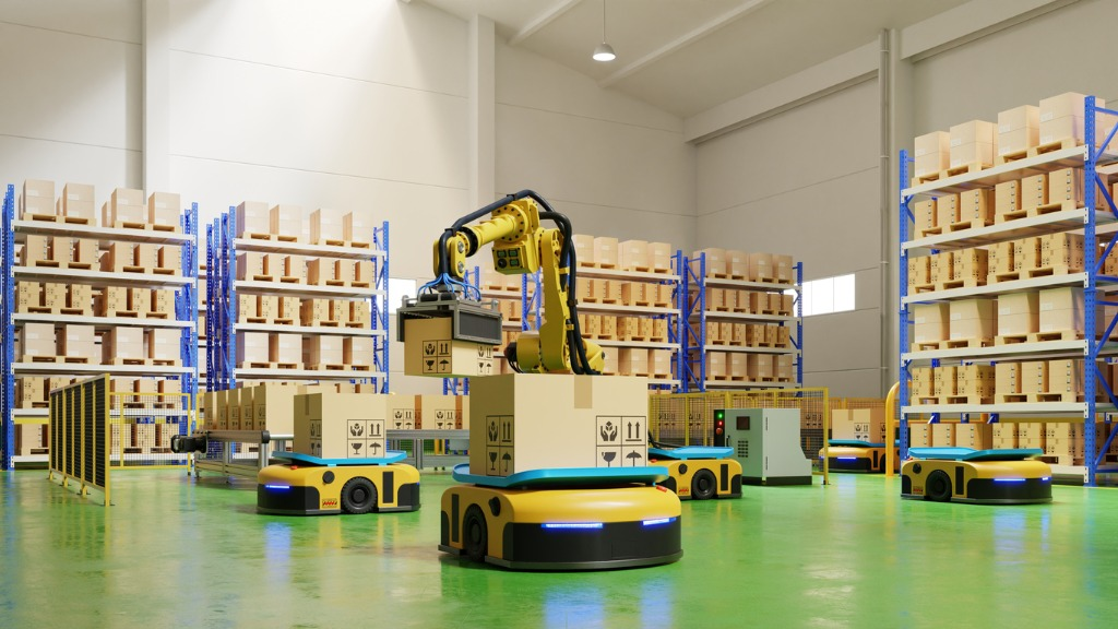 agvs-and-robotic-arm-in-warehouse